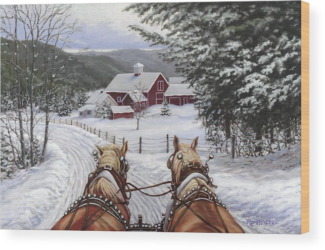 Horses Wood Print featuring the painting Sleigh Bells by Richard De Wolfe