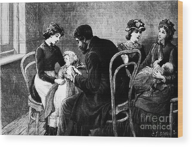 1883 Wood Print featuring the photograph Smallpox Vaccination, 1883 by Granger