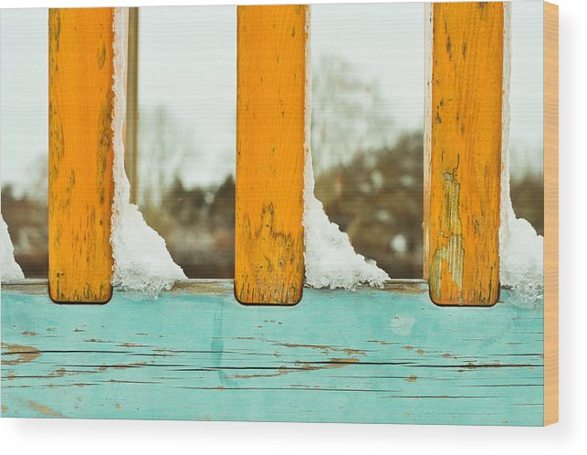 Background Wood Print featuring the photograph Snow On Railings by Tom Gowanlock