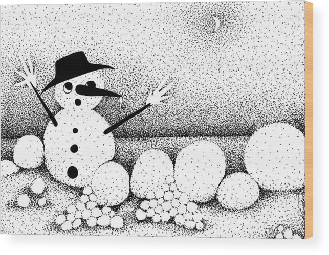 Designs Wood Print featuring the drawing Snowball Fight by Joy Bradley