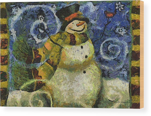 Winter Wood Print featuring the photograph Snowman Photo Art 17 by Thomas Woolworth