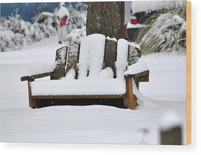 Snow Wood Print featuring the photograph Snowy Bench by Sonja Dover