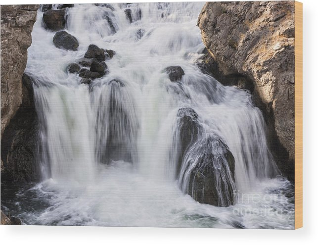 Firehole Falls Wood Print featuring the photograph Soft Water by Carolyn Fox
