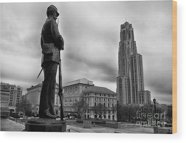 Soldiers Memorial Wood Print featuring the photograph Soldiers Memorial And Cathedral Of Learning by Thomas R Fletcher