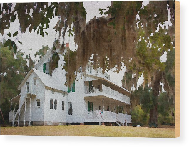 Home Florida Cracker House Blue Springs Florida Mossy Alicegipsonphotographs Wood Print featuring the photograph Southern Quiet by Alice Gipson