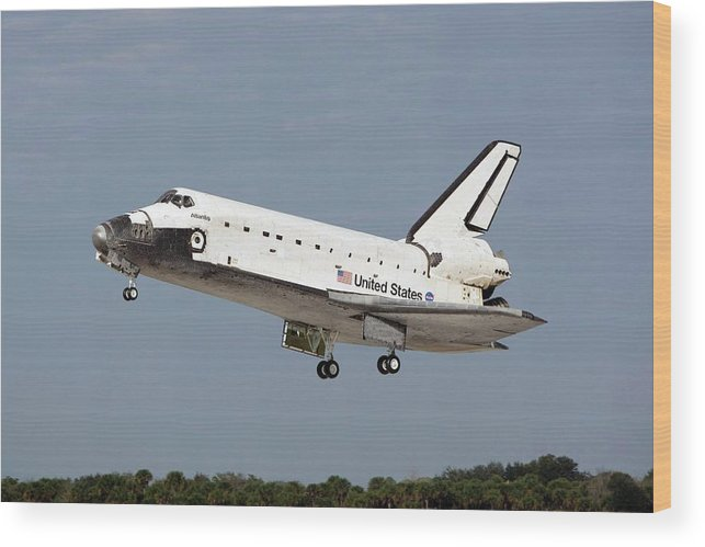 Atlantis Wood Print featuring the photograph Space Shuttle Atlantis Landing by Nasa/science Photo Library