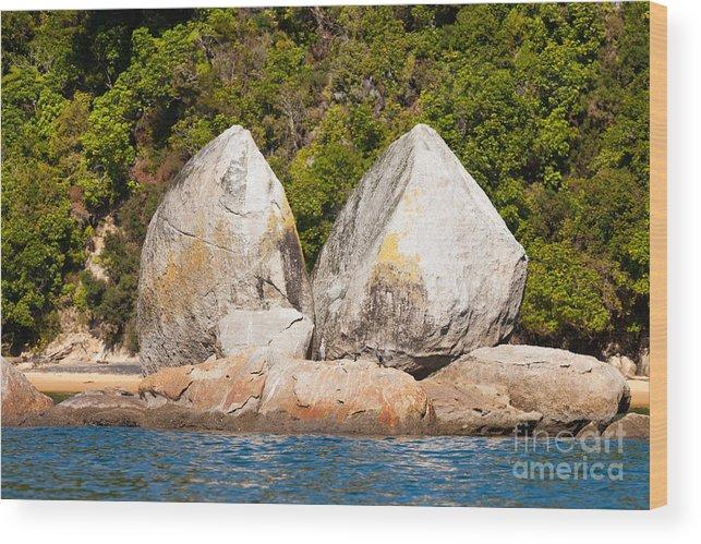 Cook Strait Wood Print featuring the photograph Split Apple Rock Near Abel Tasman Np In New Zealand by Stephan Pietzko