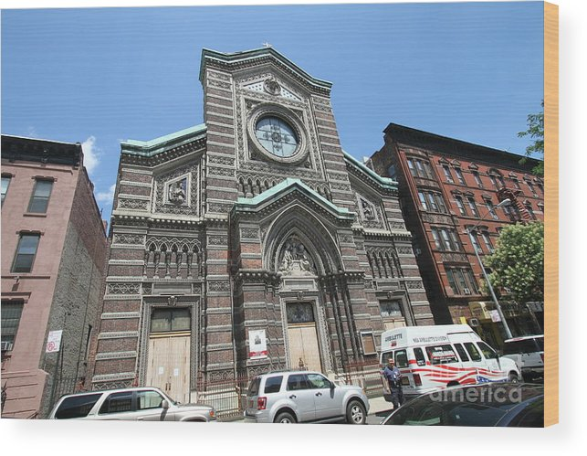 Harlem Wood Print featuring the photograph St. Aloysius Catholic Church by Steven Spak