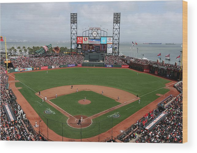 San Francisco Wood Print featuring the photograph St. Louis Cardinals V. San Francisco by Brad Mangin