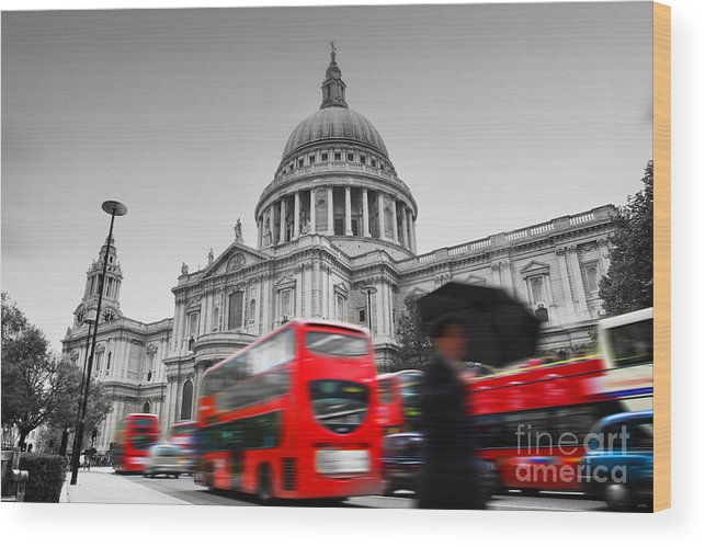 London Wood Print featuring the photograph St Pauls Cathedral In London Uk Red Buses In Motion by Michal Bednarek