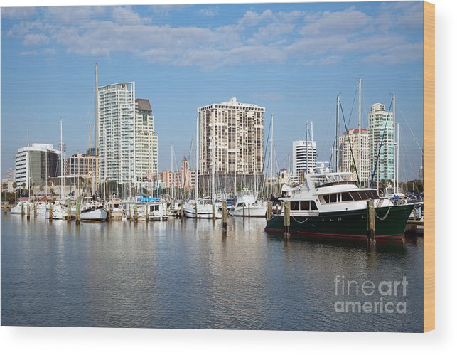 Florida Wood Print featuring the photograph St Petersburg Yacht Basin by Bill Cobb