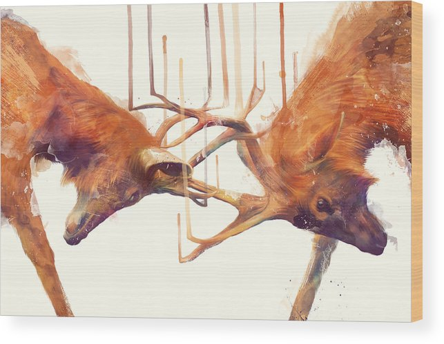 Stags Wood Print featuring the painting Stags // Strong by Amy Hamilton