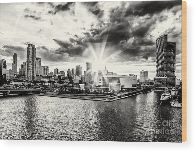 American Airlines Arena Wood Print featuring the photograph Starlight Over The American Airlines Arena by Rene Triay Photography