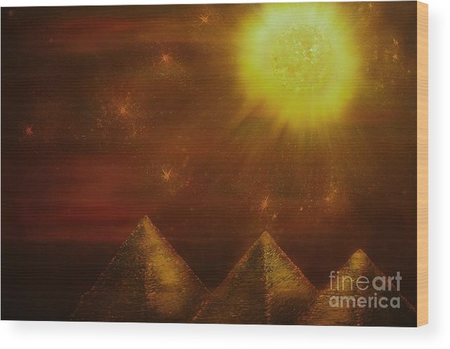 Landscape Wood Print featuring the painting Starry Pyramid Night-original Sold-buy Giclee Print Nr 34 Of Limited Edition Of 40 Prints by Eddie Michael Beck