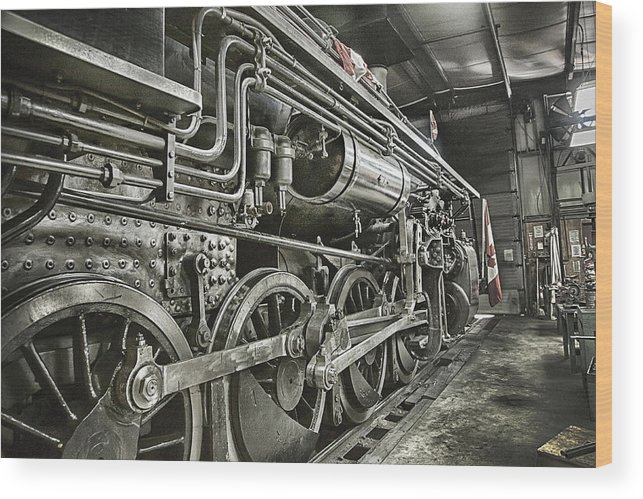 Steam Wood Print featuring the photograph Steam Locomotive 2141 by Theresa Tahara