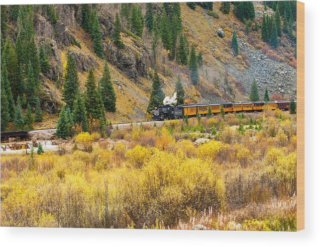 Black Knight Holdings Wood Print featuring the photograph Steam Train 5 by Randy Giesbrecht