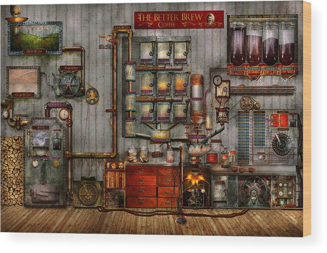 Self Wood Print featuring the digital art Steampunk - Coffee - The Company Coffee Maker by Mike Savad