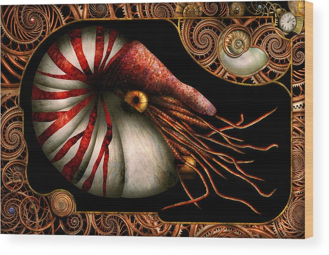 Self Wood Print featuring the photograph Steampunk - Nautilus - Coming Out Of Your Shell by Mike Savad