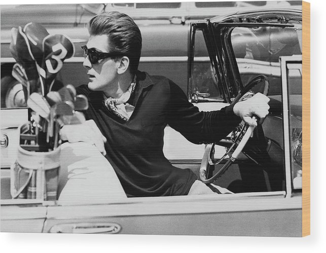 Entertainment Wood Print featuring the photograph Steve Holland In A Chrysler New Yorker by Paul Himmel