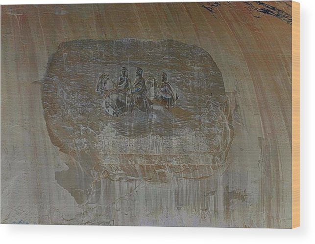 Stone Mountain Wood Print featuring the photograph Stone Mountain Mural In Brown by James Potts