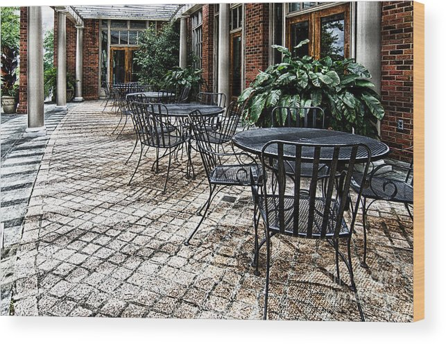 Table Wood Print featuring the photograph Stone Patio by Danny Hooks