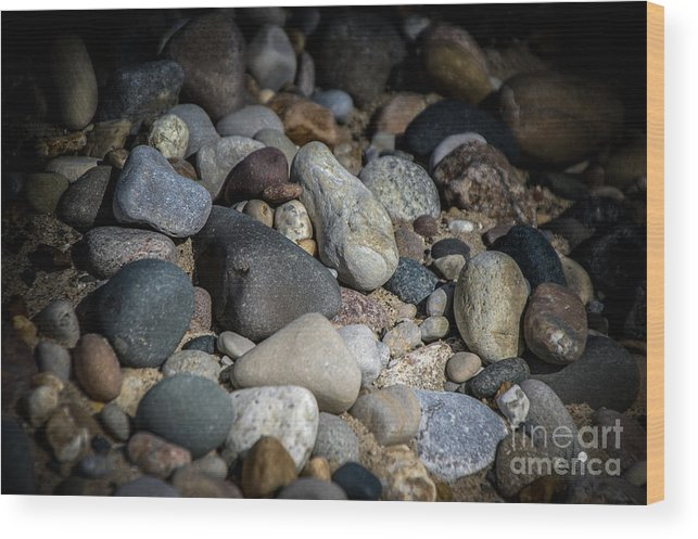 Stones Wood Print featuring the photograph Stones On Beach by Ronald Grogan