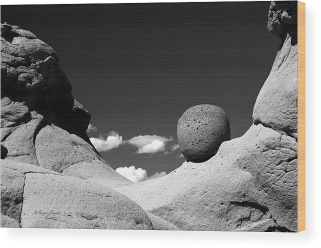 Unique Photos Wood Print featuring the photograph Strange Rocks 30 Bw by Roger Snyder