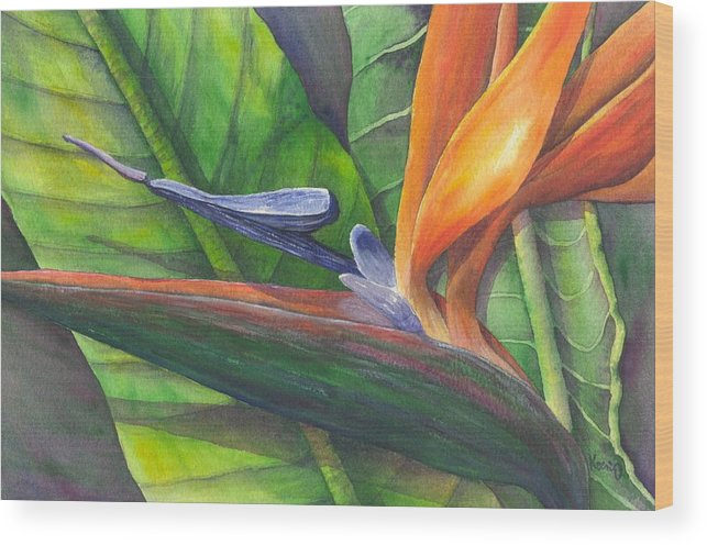 Strelitzia Reginae Wood Print featuring the painting Strelitzia Reginae by Oty Kocsis