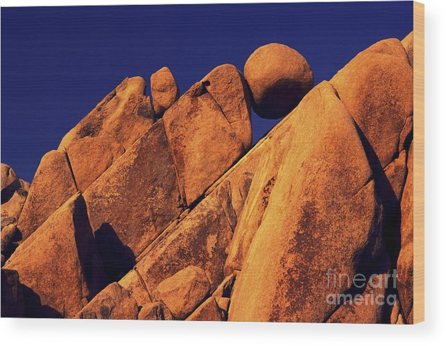 Rocks Wood Print featuring the photograph Stuck In A Wedge by Paul W Faust - Impressions of Light