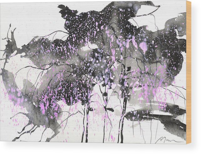 Woods Wood Print featuring the painting Sumie No.6 Weeping Willow Cheery Blossoms by Sumiyo Toribe
