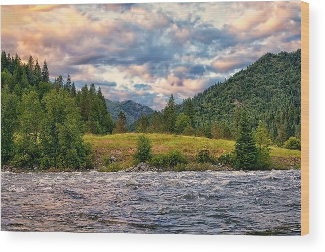 Sunset Wood Print featuring the photograph Sundown Over The Lochsa River by Philip Kuntz