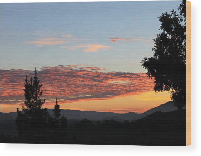 Sunrise Landscape California Dark Ornage Clouds Sky Shiloetts The Early Morning Nature Wood Print featuring the photograph Sunrise In California by Coralynn Gutierrez