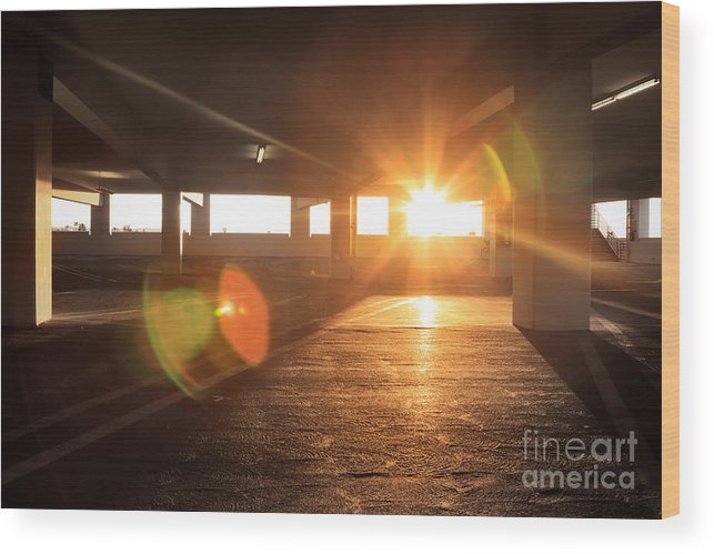 Interior Wood Print featuring the photograph Sunrise In Garage Interior Structure by Konstantin Sutyagin