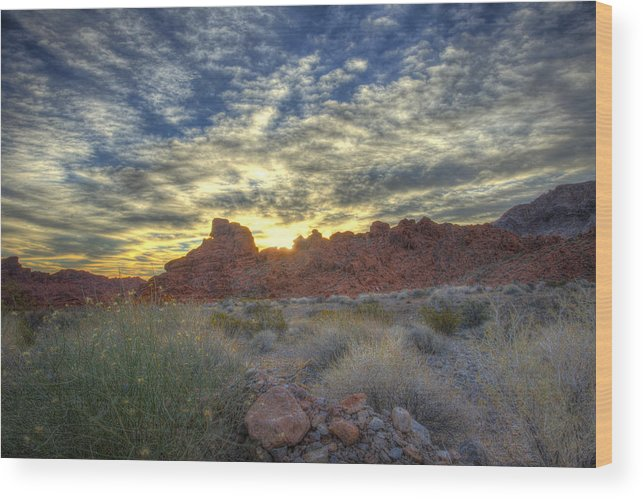 Valley Wood Print featuring the photograph Sunrise Of Fire by Zane Kuhle