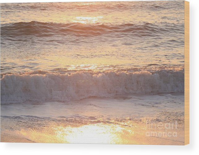 Waves Wood Print featuring the photograph Sunrise Waves by Nadine Rippelmeyer