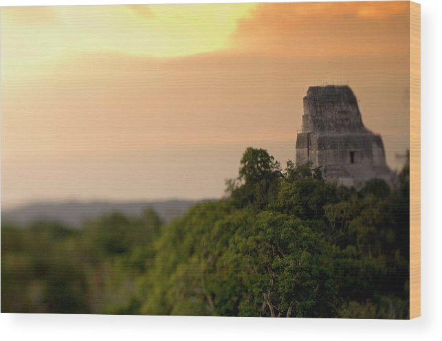 Adventure Wood Print featuring the photograph Sunset At Temple Iv At The Mayan Ruins by Kevin Steele