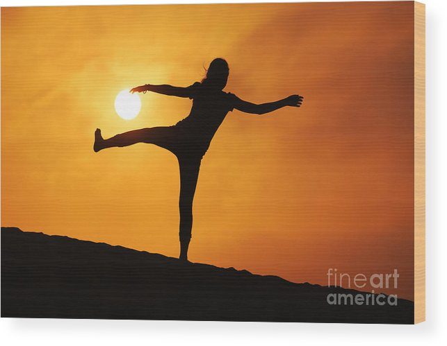 Girl Wood Print featuring the photograph Sunset Girl Silhouette by Konstantin Sutyagin