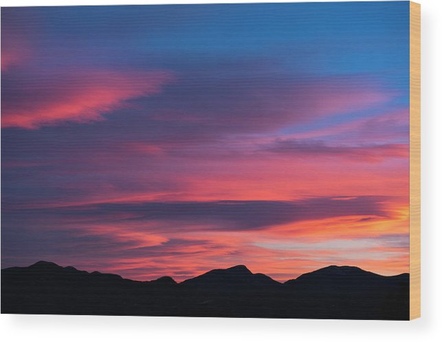 Boulder Wood Print featuring the photograph Sunset Mountains by Greg Mionske