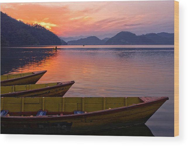 Landscape Wood Print featuring the photograph Sunset On A Mountainlake by Rene Schuiling