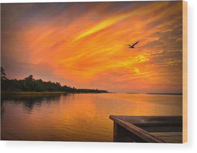 Sunset Prints Wood Print featuring the photograph Sunset On The Cape Fear River by Phil Mancuso