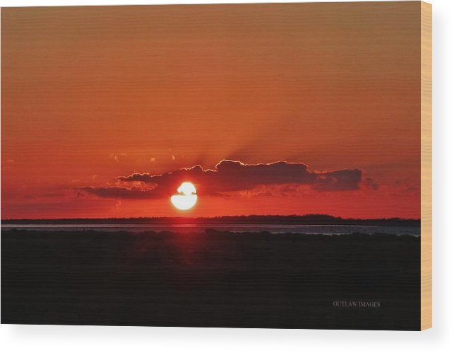 Ocracoke Island Wood Print featuring the photograph Sunset Over Ocracoke Island by Holly Dwyer