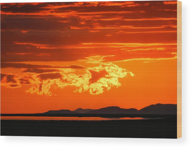 Sunset Wood Print featuring the photograph Sunset Sky Fire by Kirk Strickland