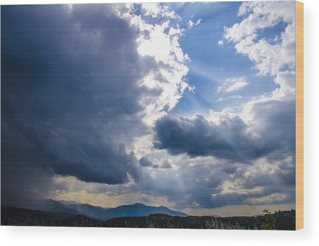 Sky Wood Print featuring the photograph Sunshines In Blackness by Sotiris Filippou