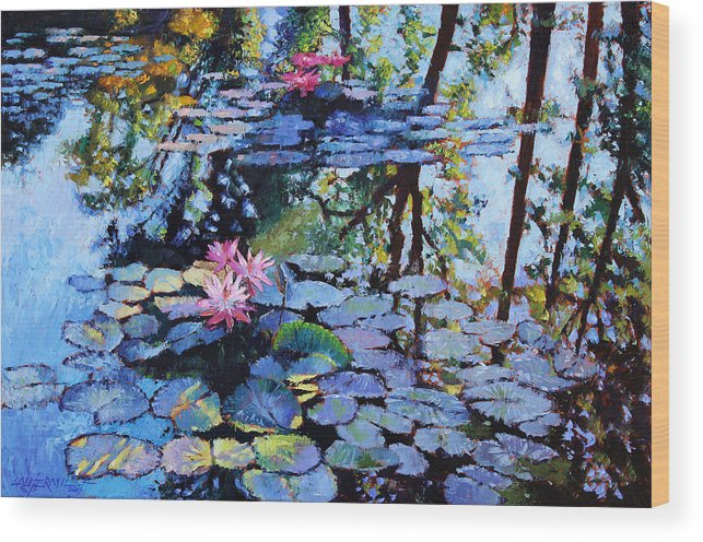 Water Lilies Wood Print featuring the painting Sunspots On The Lilies by John Lautermilch