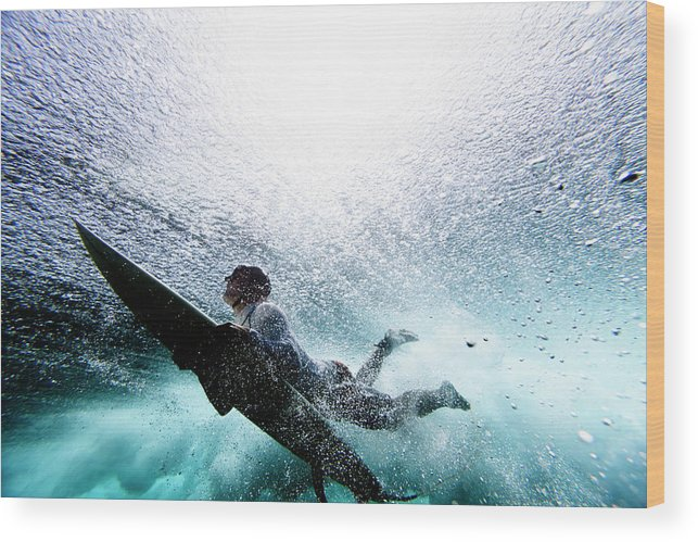 Expertise Wood Print featuring the photograph Surfer Duck Diving by Subman