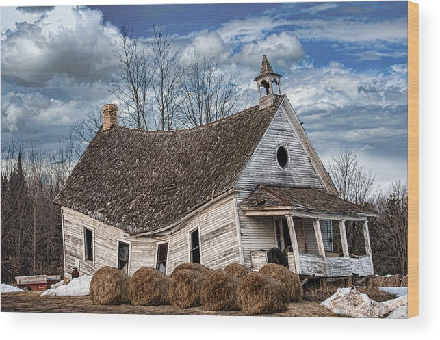 Old School House Wood Print featuring the photograph Sway Back School House by Paul Freidlund