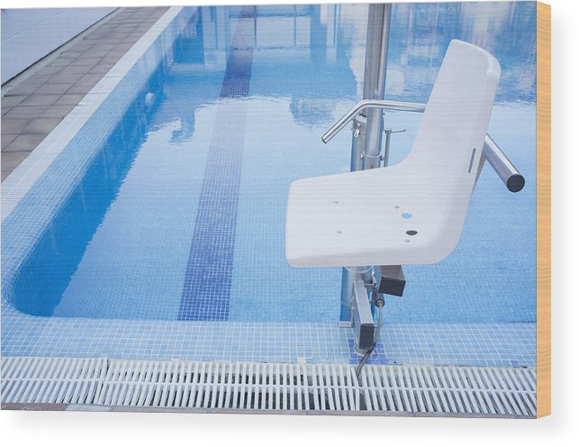 Swimming Pool Lift For Disabled People Access To The Pool Wood Print