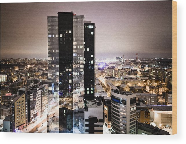 Cities Wood Print featuring the photograph Tallinn At Night by Raimond Klavins