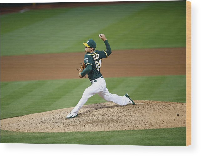 People Wood Print featuring the photograph Tampa Bay Rays V Oakland Athletics by Michael Zagaris