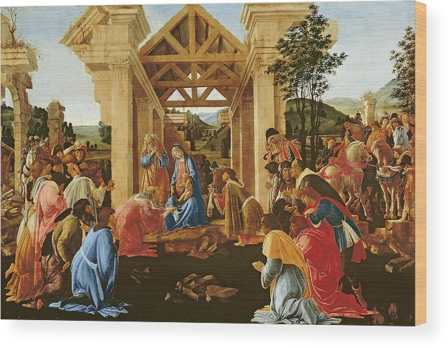 Nativity Wood Print featuring the painting The Adoration Of The Magi by Sandro Botticelli